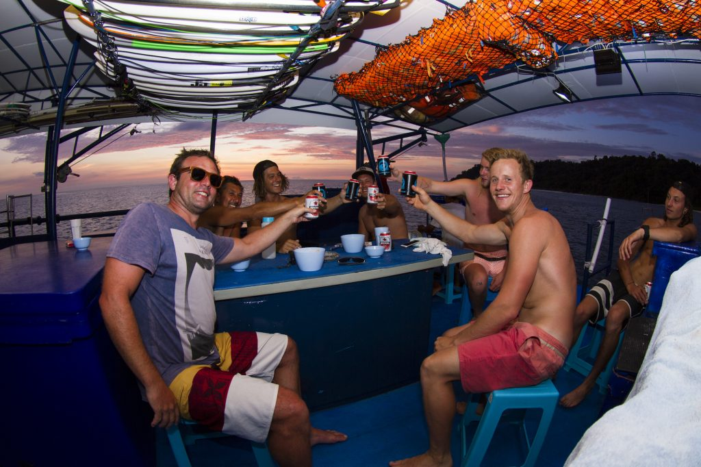 surf, Surf charters, seriti back deck cheers of surf banyak